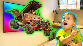 Max and Nikita playing with Magic TV | Mad Cars museum Power Wheel
