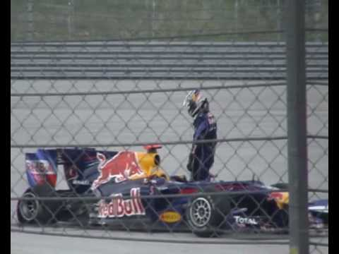 Vettel & Webber's Collision in Turkey. And Vettel's quick getaway, Funny (Amateur Footage)