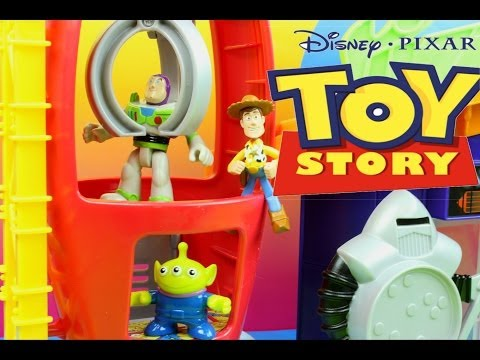Toy Story Pizza Planet Playset Imaginext Buzz Lightyear & Woody Escape The Evil Zerg Claw Grabs Buzz video