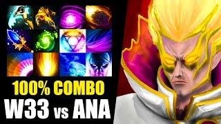 100% COMBO w33 Invoker vs ANA ES Dota 2 Patch 7.00 Gameplay