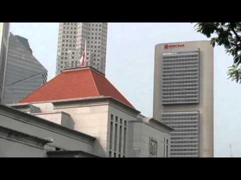 Singapore flag flying at half mast at Parliament House