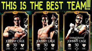 MKX Mobile. THE BEST TEAM AGAINST CURRENT META (2017). 3 Johnny Cage Team!