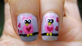 Uñas Buhos Enamorados - Nails Love Owls