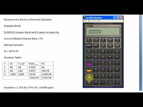Calculating Duration on Financial Calculator