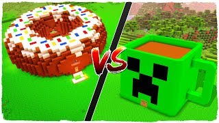 DONUT house vs COFFEE CUP house - MINECRAFT