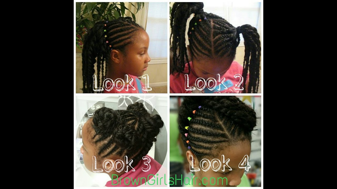Natural Girls Braids 1 Hairstyle With 4 Looks Youtube
