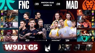 Fnatic vs Mad Lions | Week 9 Day 1 S10 LEC Spring 2020 | FNC vs MAD W9D1