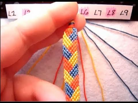 ► Friendship Bracelet Tutorial 10 - Intermediate - The Braided Stitch