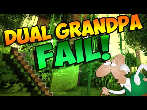 Dual Grandpa... Fail! Minecraft Hunger Games Gameplay video