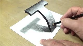 Very Easy - Drawing 3D Letter T - Trick Art with Pencil  - By Vamos