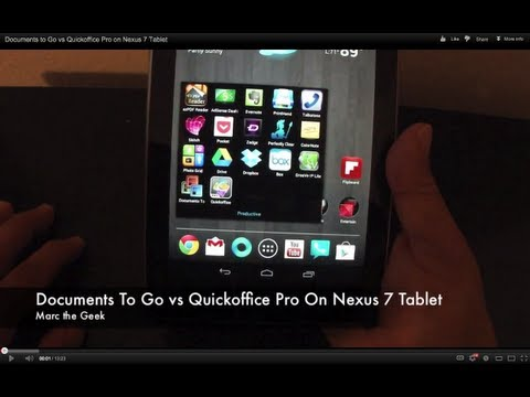 Documents to Go vs Quickoffice Pro on Nexus 7 Tablet