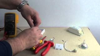 How to remove a 12v Halogen bulb and transformer and Install a Led driver with led bulb