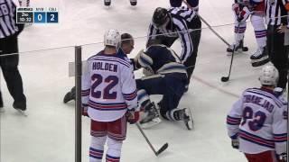 Calvert hit in face by Holden point shot