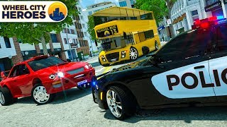 School Bus Assembly Red Car Tire - Wheel City Heroes (WCH) | Police Car Cartoon for Kids