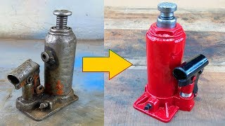 Old and Rusted Hydraulic Jack Restoration