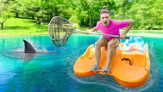 Capturing Mystery Pond Monster Creature in Sharer Family Backyard!! (Escapes Underwater Cage)