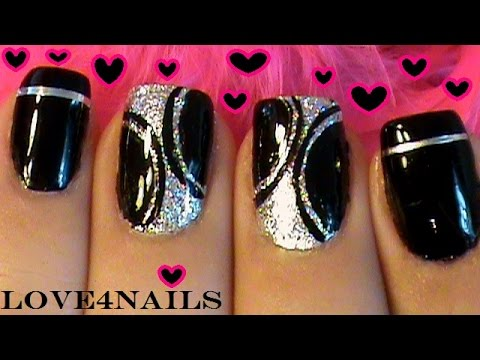 Easy ~ Quick Black & Silver Nails
