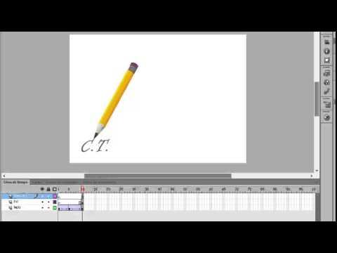 flash cs6 lapiz escribiendo texto con técnica de mascara
