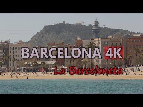 Ultra HD 4K Barcelona Spain La Barceloneta Neighborhood Beach People Travel UHD Video Stock Footage