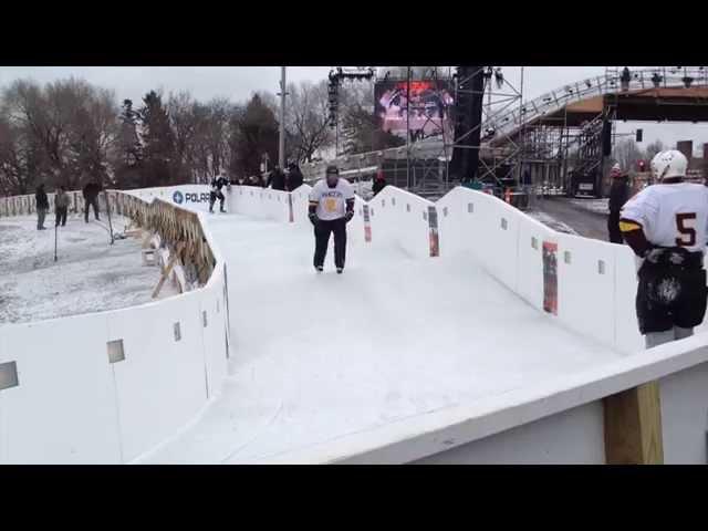 Father Shovelain tests the Crashed ice track