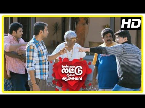 Kanna Laddu Thinna Aasaiya Scenes |Sethu, Santhanam and Powerstar fight |Vishaka lies she is in love