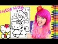Coloring Hello Kitty Spring Flowers GIANT Coloring Book Page Crayola Crayons | KiMMi THE CLOWN