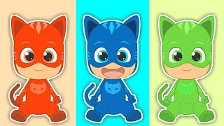 Five Little Babies with Colorful Catboy | Songs for children with PJ Masks | Learn Singing