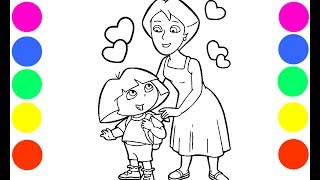 Dora and Mami Coloring Book Pages Art Colours for Kids with Colored Markers