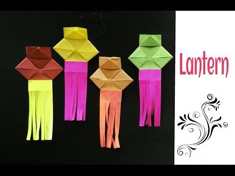Origami Paper- Simple Lantern 🏮 (Diwali /Christmas /Eid decoration ) - Very easy to make !! thumbnail
