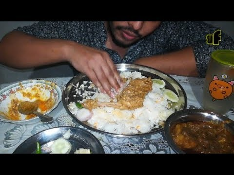 Eating Pulao With Chicken Roast, Mutton Curry And Salad | Eating Show | Bachelor Foodie