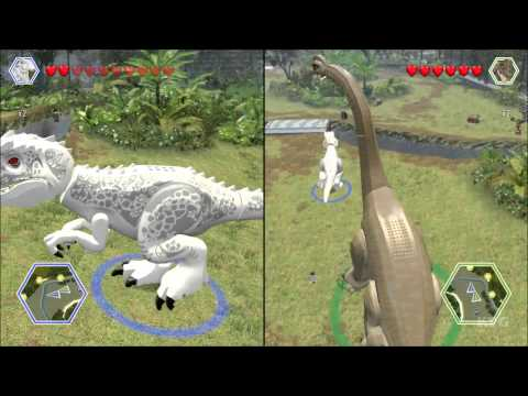LEGO Jurassic World - Indominus Rex vs Brachiosaurus - CoOp Fight   Free Roam Gameplay [HD]