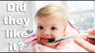 TWIN BABIES TRY SOLID FOODS!!!