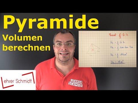 Pyramide - Volumen berechnen   Mathematik - einfach erklärt   Lehrerschmidt