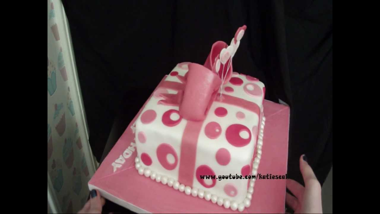 Birthday Cake Gift Images : Sweet 16 Gift Box Birthday Cake - YouTube