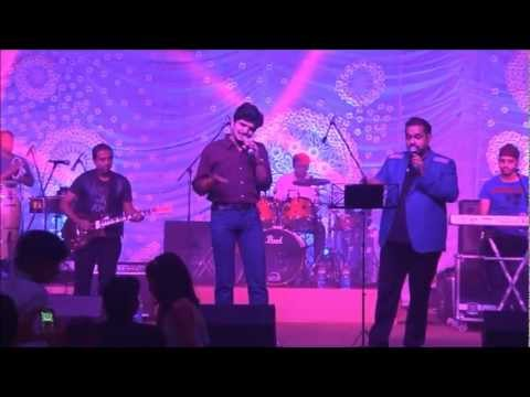 Shankar Mahadevan and Srinivasa Sarma(Tollywood singer) on a stage.wmv
