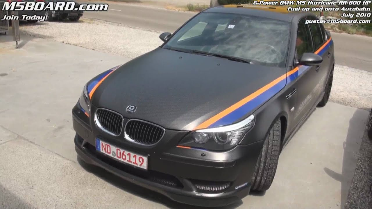 g power hurricane rr bmw m5 800 hp fueling up and onto autobahn driven by gustav youtube. Black Bedroom Furniture Sets. Home Design Ideas