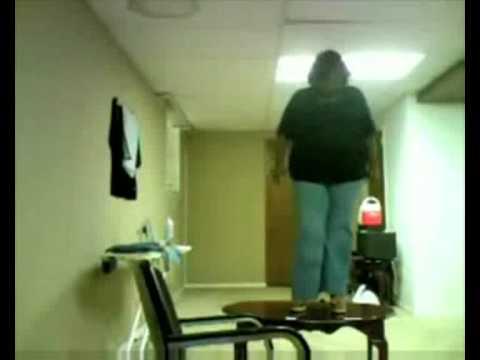 Fat women falls off little table LOLZ