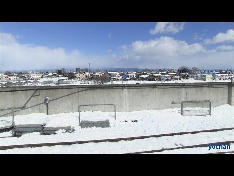 Snow scene - Train window view.Joetsu Shinkansen (Honjo,Saitama - Near Tokyo)