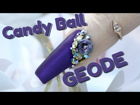 HOW TO DO A 3D CANDY BALL NAIL | PURPLE GEODE NAIL |