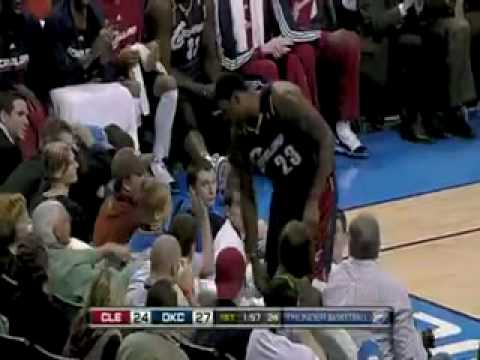 LeBron James steals ball & fan's french fries