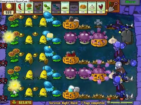 Let's Play Plants Vs Zombies 63 - Supervivencia dificil: Noche
