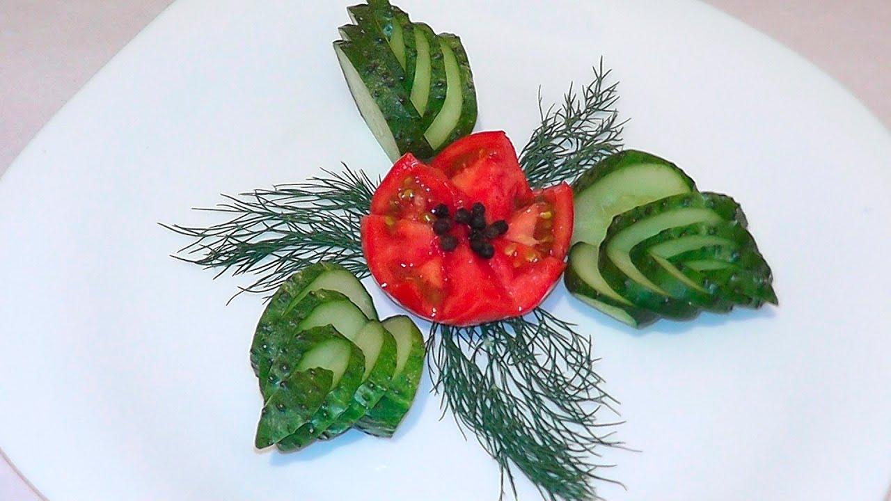Украшение с помидора и огурца фото