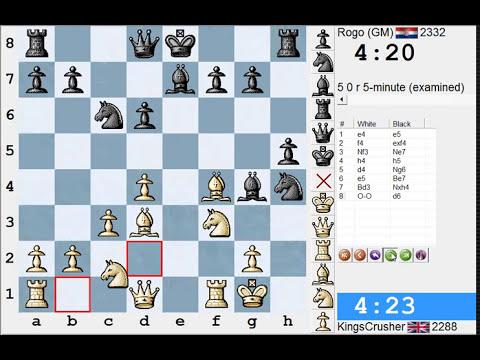 Chess World.net: LIVE Blitz #1741 vs Rogo (GM) 2332 - KGA: Bonsch-Osmolovsky (C34) (Chessworld.net)