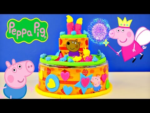 Peppa Pig Play Doh Birthday Cake Dough Happy B-Day Muddy Puddles Toys Pastel de Cumpleaños