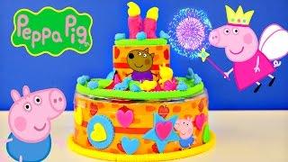 Peppa Pig Play Doh Birthday Cake Dough Happy B-Day Muddy Puddles Toys Pastel de Cumpleaños