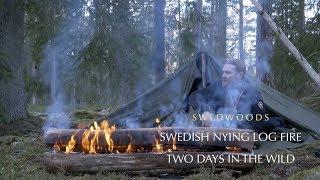 Bushcraft Winter Overnight - Swedish Nying Longfire - Canvas Lavvu Shelter - Chicken Rotisserie
