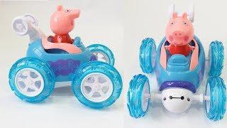 Peppa Pig lái xe ô tô nhào lộn 360 độ