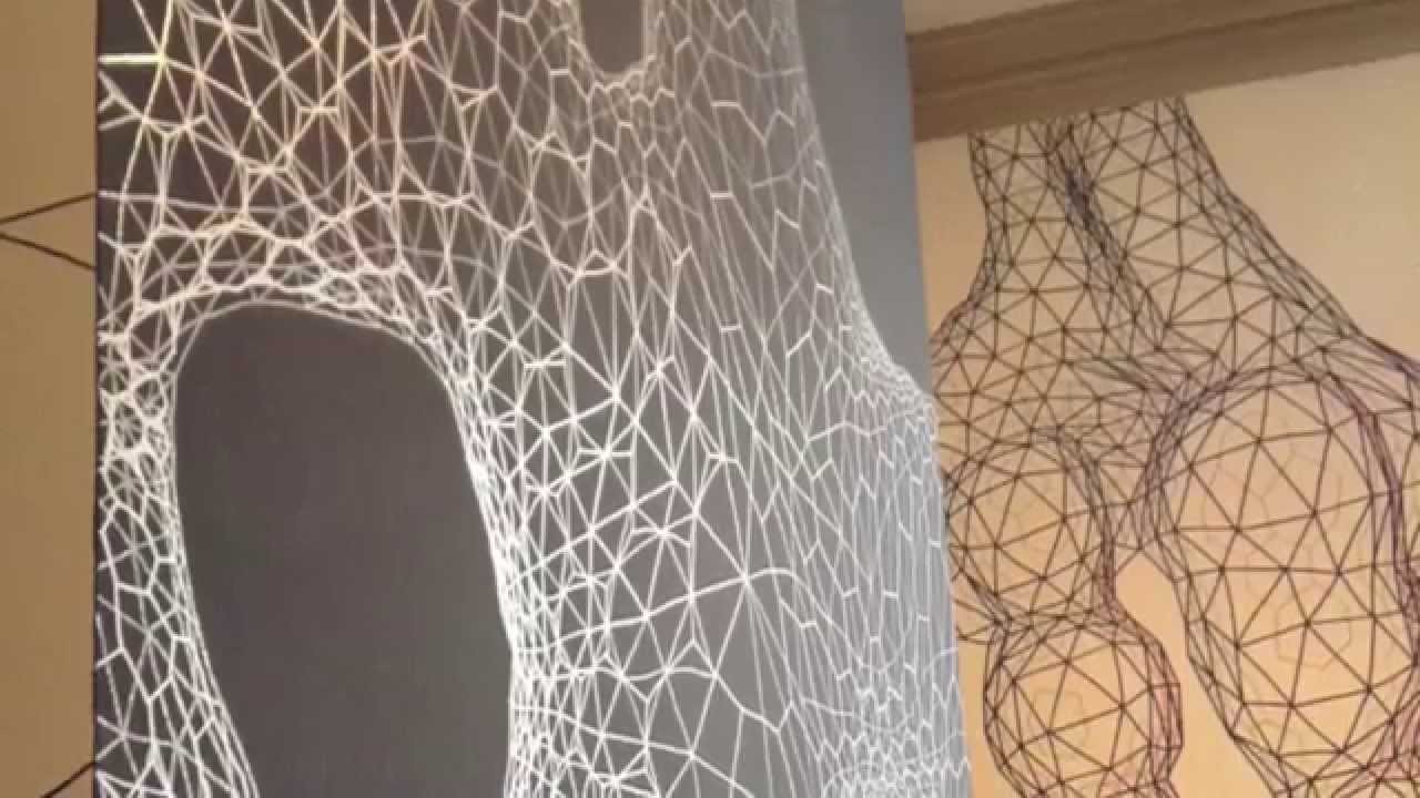 Geometric biomorphic wall drawing installation timelapse Painting geometric patterns on walls