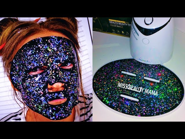 #МАСКАМАШИНА Сделай #GLAMGLOWGLITTERMASK КОСМИЧЕСКАЯ МАСКА Черная маска с глиттером Missbeautymama