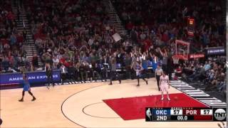 Taj Gibson nails long buzzer beater before half!
